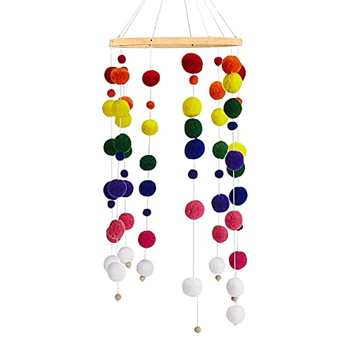 Baby Crib Mobile, Wind Chime Felt Ball Made of Bamboo, HAPPY FINDING...