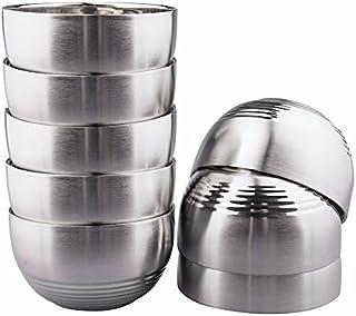 IMEEA 茶碗 めし碗 つや消し SUS304 ステンレス 耐熱 二重構造 ボウル こども用ボウル 8個セット