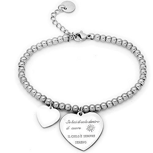 Beloved Braccialetto da donna, bracciale in acciaio emozionale - frasi, pensieri, parole con charms - ciondolo pendente - misura regolabile - incisione - argento (MOD 14)