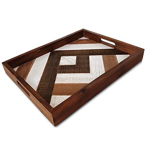 Wood Serving Tray with Handles - Decorative Tray Rustic Farmhouse Decor - Coffee Table Tray, Ottoman Tray, Tv Tray - Serving Platter for Dinner Tray, Tea Tray, Bar Tray, Breakfast Tray, Bed Food Tray