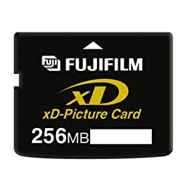 FujiFilm 256 MB xD Picture Card, Type M (600004661) 4 High capacity flash memory format for digital cameras TYype M 256 MB storage capacity 1.3 MB/sec record speed, 5MB/sec read speed