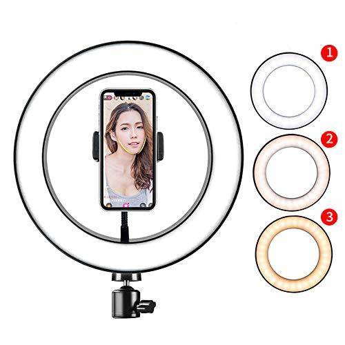 zhiang Anillo de luz 80LED 128LED con soporte para teléfono, 8W 5500K regulable para cámara de estudio con 3 modos para hacer streaming en vivo de YouTube