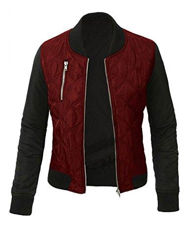Minetom Mujer Otoño Invierno Casual Costura Cremallera Jackets Chaquetas Deportiva Cuero Moto Cazadoras Biker Abrigos Outwear Vino Rojo ES 34