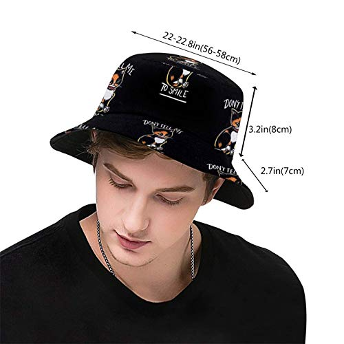 popluck Don't Tell Me to Smile Unisex Bucket Hat Fisherman Hat Sun Hat Foldable 3D Printing Outdoor Beach Hat