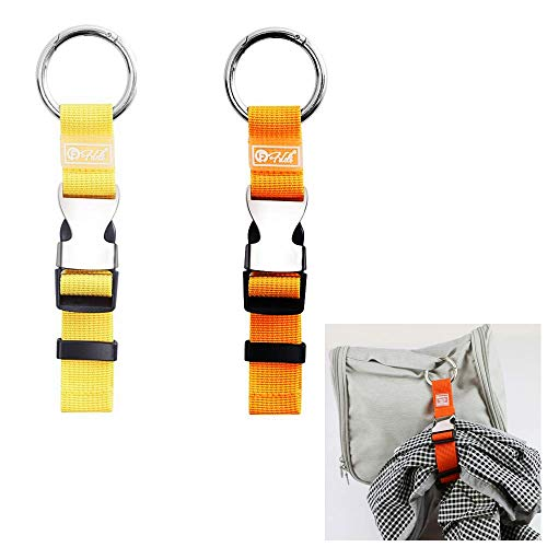 Chris.W 2 Pack Add-A-Bag Luggage Strap Jacket Grippers Baggage Suitcase Straps Belts Travel Accessories, Make Your Hands Free(Orange and Yellow)