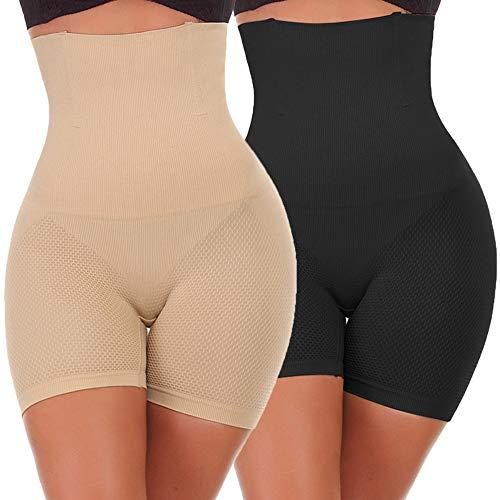 NINGMI Femme Panties Culotte Taille Haute Gainante Minceur Ventre Plat Efficace sous-vêtements, noir/beige, L