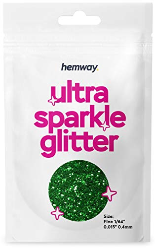 "Hemway Ultra Sparkle Glitter - Fine 1/64"" 0.015"" 0.4mm - Emerald Green - Cosmetic Safe, Fine Slime, Crafts, Weddings, Decorations, Art, Beauty, Decoration Scrapbooking - 10g Sample"