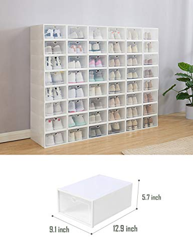 IRONLAND Shoe Storage Boxes 12 Pack Clear Plastic Stackable (White)