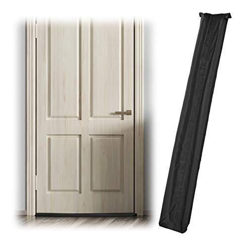 Relaxdays 1 x Zugluftstopper für Tür, beidseitig, Türrolle gegen Zugluft und Kälte, Stoff, Türluftstopper, 90 cm lang, schwarz