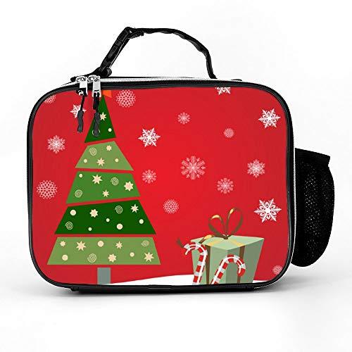 happygoluck1y kerstboom met geschenken en snoepjes rode lunchzakken geïsoleerde rits met zakken draagbare lunchbox voor vrouwen voor werk voor kinderen