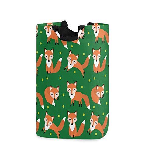 Cesta de lavandería grande con asas para cestas de regalo, dormitorio, ropa, diseño de zorro con lunares, color verde