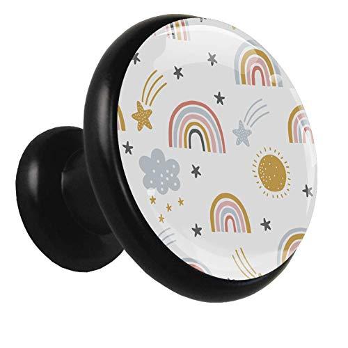 Schrankknöpfe schwarz Cartoon Sterne Regenbogen Garderobenknöpfe Klare Schrankknöpfe und Griffe für Kinder 4er-Set 1.26x1.18x0.66in