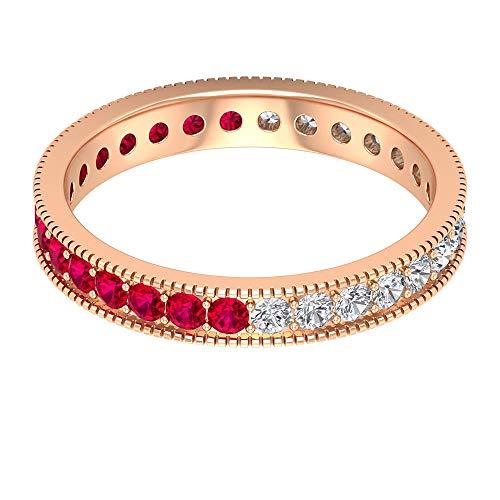 Rosec Jewels 10 quilates oro rosa redonda round-brilliant-shape H-I Red Diamond Ruby Lab creado
