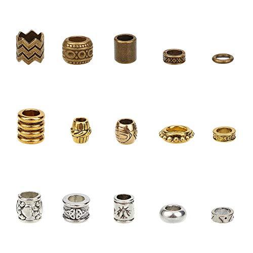 nbeads 150 STK. Dreadlock Perlen Aus Tibetischem Stil, 15 Arten von Losen Geflochtenen Haarperlen DIY Schmuck Zubehör Für Afrikanische DIY Haar Flechten Pferdeschwanz Dekoration