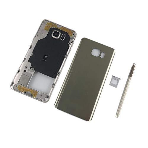 LBWNB Cubierta de cristal trasera impermeable a prueba de polvo para Samsung Galaxy Note 5 N920 N920F carcasa de metal marco medio + tapa trasera de batería de vidrio (color de tarjeta dual gris)