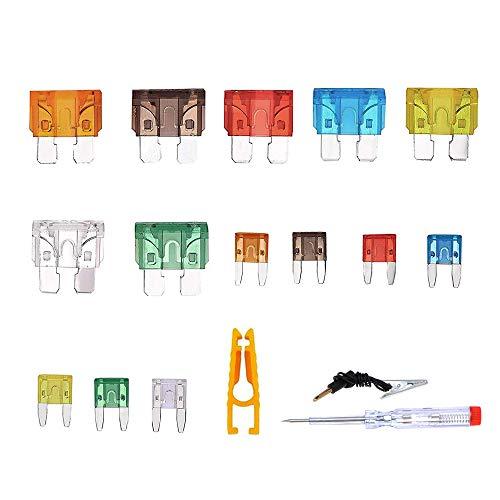 Haihui Juego de fusibles para coche (300 unidades, 2 A, 3 A, 5 A, 7,5 A, 10 A, 15 A, 20 A, 25 A, 30 A, 35 A, 40 A)