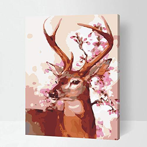 thfff knutselen digitaal olieverfschilderij set creatieve huis achtergrond decoratie foto gift 6318 hert goede oogschaduw Sans Cadre 40x50cm