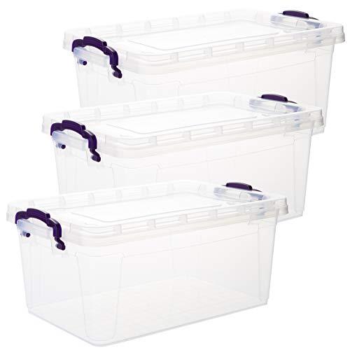 2friends Aufbewahrungsbox mit Deckel, 3 Stück, je 5 Liter, 13,5 x 31 x 20 cm, lebensmittelecht, aus Kunststoff, Made in EU, transparent mit lila Griffen