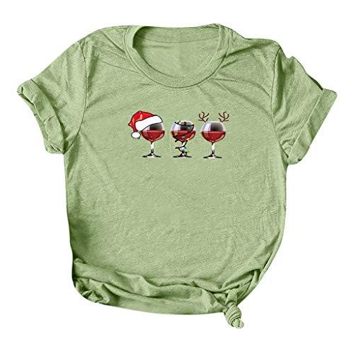 T-Shirt décontracté de Noël pour Femme Chemise à Manches Courtes pour Dames Haut Pull à Col Rond Sweat-Shirt imprimé de Verre à vin Noël