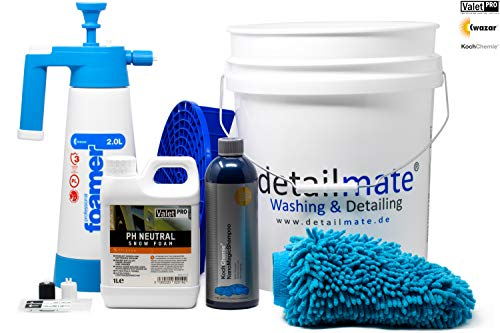 detailmate Set - Vorwäsche: ValetPro PH neutral Snow Foam, Kwazar Foamer 2L - Hauptwäsche: Koch Chemie Nano Magic Shampoo 750ml, Gritguard Eimer 20L,Gritguard Schmutzeinsatz, Waschhandschuh
