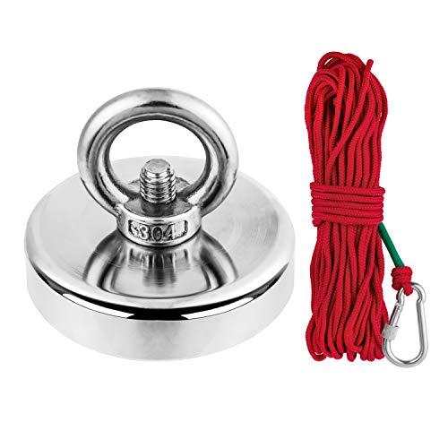 UISEBRT Ösenmagnet extra stark mit Seil (20m) Zugkraft 150 kg - Neodym Magnete Leistungsstarker Angelmagnet für Angeln, Rettung, Erholung, 60 mm Durchmesser