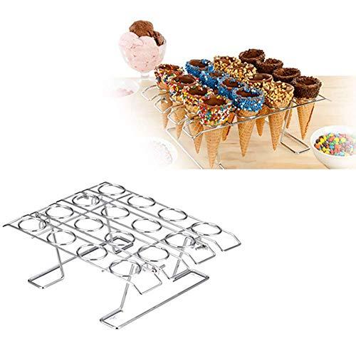 Cono de Helado Soporte, Horneado Cup Cake Soporte de Cono, 16 Agujero Cono Soporte para Hielo Pastel Expositor - Plateado, One size