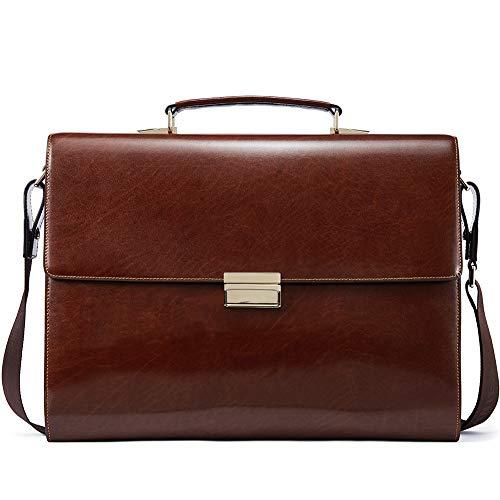 BOSTANTEN Genuine Men Leather Briefcase Vintage Lock 15.6 inch Laptop Lawyer Attache Case Messenger Bag