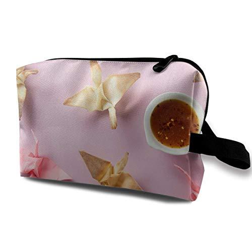 Paper Origami Art Crane Cosmetic Bags Makeup Organizer Bag Pouch Zipper Purse Handbag Clutch Bag