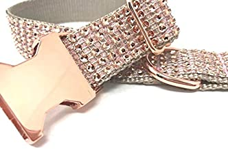 Big Pup Pet Fashion Fancy, Blingy and Sparkly, Rose Gold, Rhinestone, Dog Collar for Girls, Females, Glitter, Small, Medium, Large, Extra Large Dogs, Cat