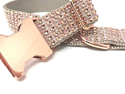 Big Pup Pet Fashion Fancy, Blingy and Sparkly Rose Gold Rhinestone Dog Collar for Girls (XL 1' X 17-26)