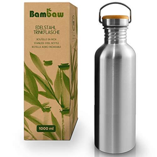 Bambaw Trinkflasche 1l Edelstahl   Langlebige Wasserflasche 1l  Wiederverwendbare öko Wasserflasche...