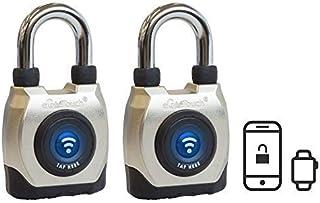 eGeeTouch Outdoor Smart Padlock 3rd Gen, Weatherproof, Bluetooth + NFC (Short Shackle) (2. 2 Pack)
