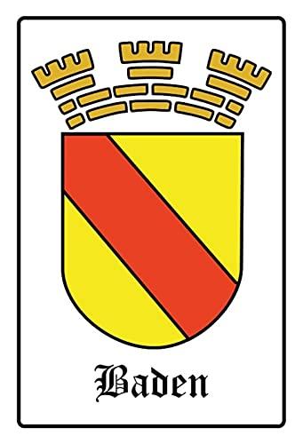 Blechschild 20x30cm gewölbt Wappen Flagge Baden Deko Geschenk Schild