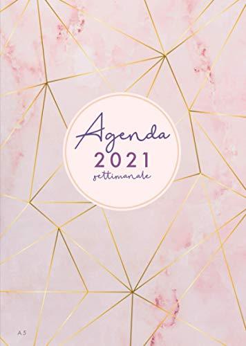 2021: Agenda 2021 | 12 mesi | gennaio - dicembre | marmo rosa e strisce