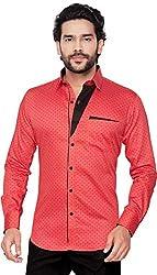 Global Rang Mens Cotton Polka Printed Casual Red Shirt