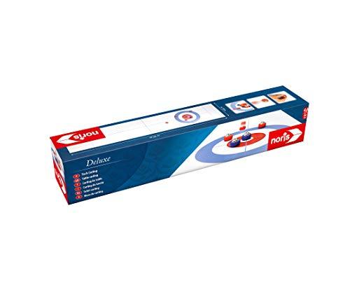 Noris 606101717 - Tisch Curling, mit ausrollbarer Curling Matte für weiteren Spielspaß auch unterwegs, Spielfläche 195 x 38 cm ab 6 Jahren