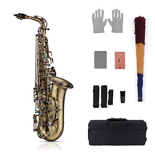 Muslady Eb Es-Alt Saxophon Hochgradigen Antikes Finish Saxophon Shell-Schlüssel Schnitzen Sie Muster Holzblasinstrument mit gepolstert Tragetasch Putztuch Bürste Sax Riemen Blätter