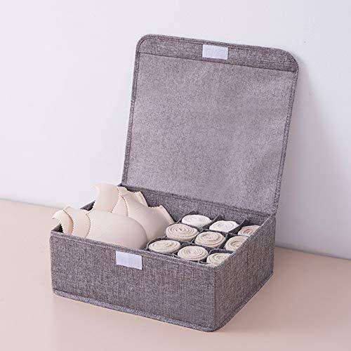 MSNLY Unterwäsche aus Baumwolle und Leinen, BH, Socken, Aufbewahrungsbox, Mehrfachfach, faltbar, umweltfreundlich, mit Bezug, Abschlussschublade, Stoffbox, Wäsche
