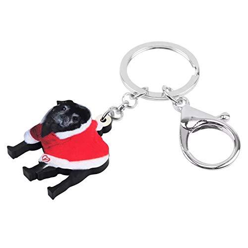 Llavero Vestido de Navidad Llavero de Perro Pug Negro llaveros Monedero para...