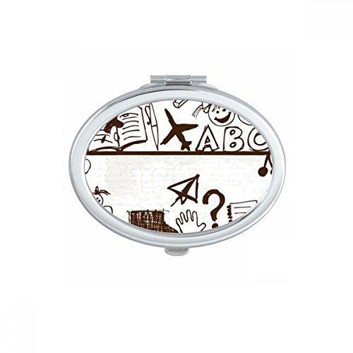 DIYthinker Paper Plane Kindliche Kinder nett von Hand gezeichnete Illustration Bücherregal College-Oval Compact Make-up Taschenspiegel Tragbare Nette kleine Hand Spiegel Geschenk