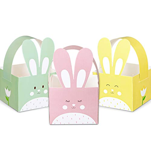 Whaline 24pcs Easter Treat Boxes Happy Easter Gift Box with Handle Cute Bunny Rabbit Easter Basket Containers Rabbit Shape Candy Goody Cookie Box Holder For Kids School Classroom Party Favor Supplies