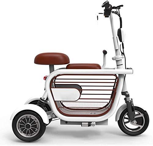 Xiaokang Scooter eléctrico de Tres Ruedas Tipo Y, admite Mascotas, Adecuado para la Vida Diaria y Viajes, 48V / 8A / 10A, Triciclo Rosado,Blanco,10A/45KM