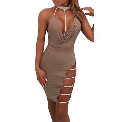 OVERDOSE Damen Tiefem V-Ausschnitt Neckholder Rückenfrei Choker Schlitz Pailletten Bodycon Minikleid Club Partyleid (A-Khaki,EU-36/CN-S)