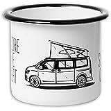 EAT Sleep Camp - Explore Drive Repeat   Hochwertiger Emaille Becher mit Campervan Motiv   leicht und...