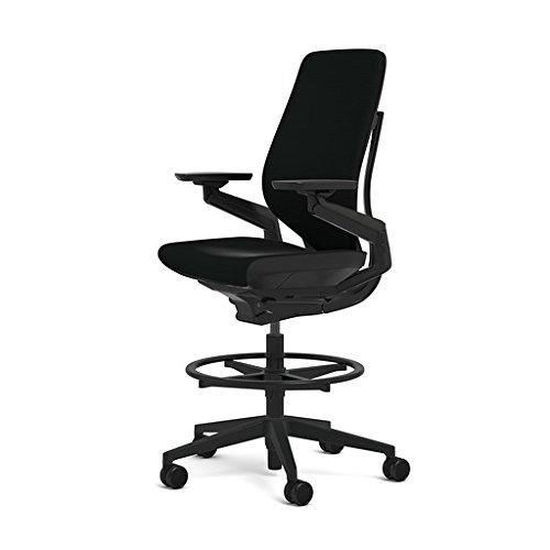 Steelcase Gesture 442 Stool Chair - Black Steelcase Leather, Shell Back, Dark on Dark Frame