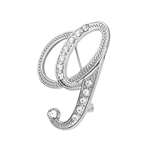 Accessory, 1PC Crystal 26 English Letters Brooch Pin Couple Memorial Jewelry Love Gifts, Clothing Shoes & Accessories (G Free Size)