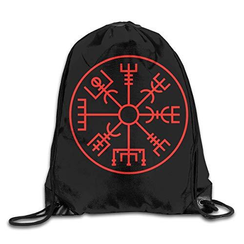 DSGFSQ Sporttaschen Turnbeutel Drawstring Bag Viking Symbol Nordic Compass Gym Sport Bags Cinch Sacks Travel Hiking Backpack for Men Women