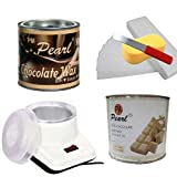PMPEARL Waxing Kit Combo (Wax Heater + Chocolate Wax (600 gm) + White Chocolate Wax (600 gm) + Wax Strips (30) + Wax Spatula + Sponge)
