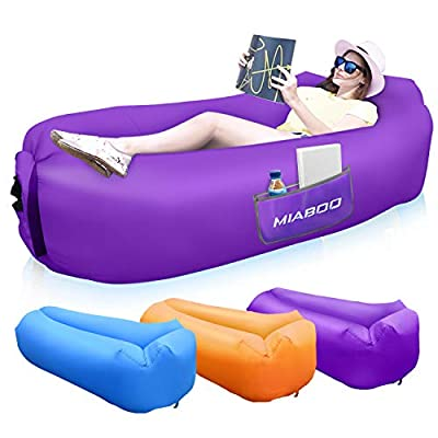 SEATIGER Inflatable Lounger Air Sofa Portable Waterproof Anti-Air Leaking Inflatable Pouch Couch with Pillow and Carrying Bag for Outdoor Camping,Picnics,Pool Beach Parties (Purple)