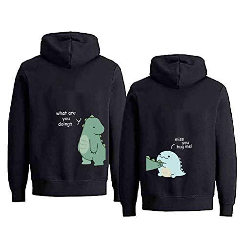 Tabiekacl King Queen Pullover Sweatshirt Partnerlook Valentinstag Pärchen Hoodie Kapuzenpulli 1 Stück, Schwarz-Little Dinosaur, M